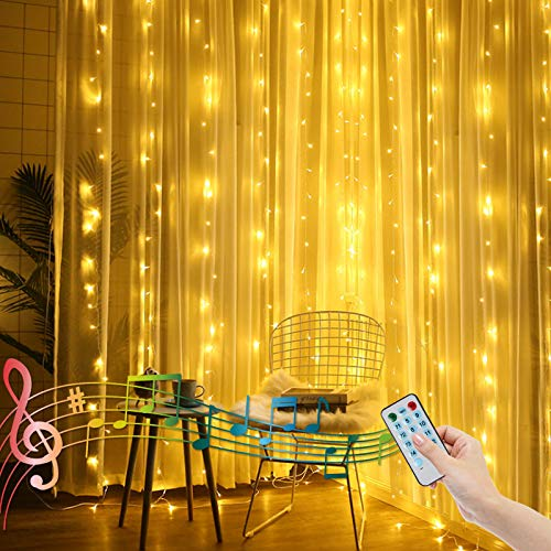 2M X 2M Curtain Lights for Bedroom Backdrop Fairy Light Waterfall Window Curtain Light Battery Powered, Music Activated Icicle Lights for Valentines Balcony Room Decor