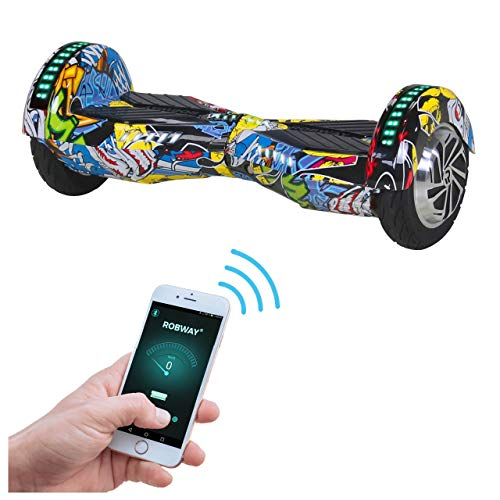 Robway W2 Hoverboard - Das Original - Samsung Marken Akku - Self Balance - 3 Farben - Bluetooth - 2 x 350 Watt Motor - 8 Zoll Reifen (Blau Graffiti)