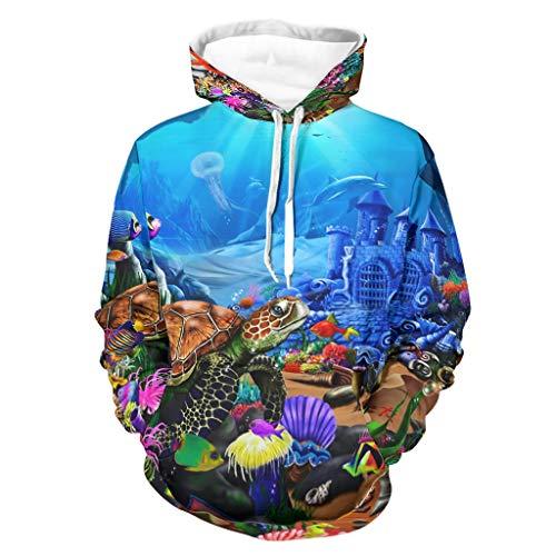 Shinelly Sudadera de manga larga con diseño de castillo bajo el agua, delfín, tortuga, para hombre, con bolsillos, sudadera blanco XXXL
