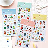 4 Hojas Hello Flora Stickers Set Cartoon Cute Girl Daily Life Brunch Shopping Jardinería Flower Note Sticker Adhesive Post A6541
