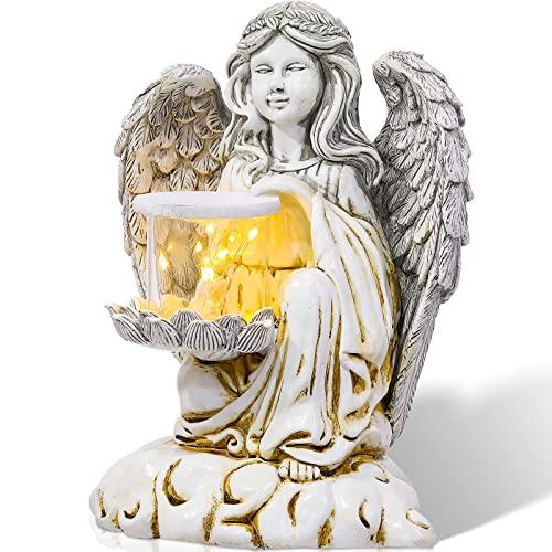 Engel Solar Garten Statue Solar Angetrieben Fee Beten Engel Figur mit Solar LED Engel Lichter Dekorationen Wasserdicht für Heim Garten Outdoor Dekor Kunst Skulptur Ornament