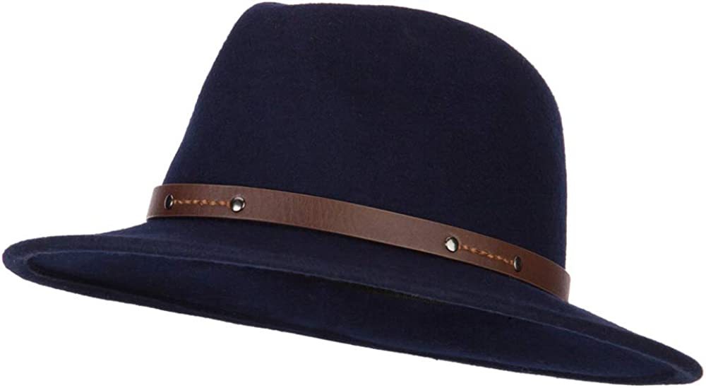 Jeanne Simmons Women's Wool Leatherette Buckle Band Accented Large Brim Fedora Hat