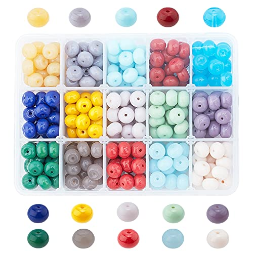 PandaHall Cuentas opacas de 10 mm de color para hacer joyas, cuentas de vidrio opaco de disco de color sólido para collares de primavera