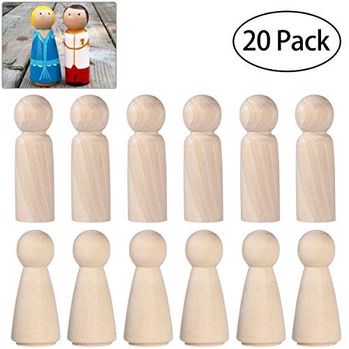 ULTNICE Hölzerne Peg Doll Unvollendete Holz Menschen Bodies Engel Puppen für DIY Handwerk Pack von 20