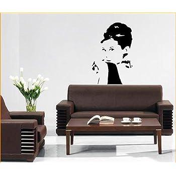 IDEAVINILO Vinilo Decorativo Retrato de Audrey Hepburn. Color Negro. Medidas: 70x90cm.: Amazon.es: Hogar