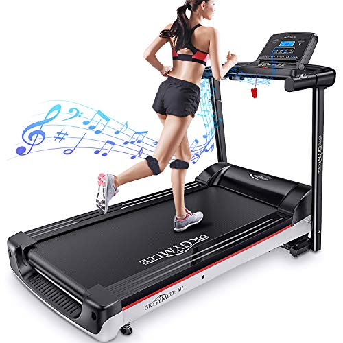 DR.GYMLEE Folding Shock Absorption Smart Treadmill Electric Motorized Running Machine for Home Use, Health & Fitness Walking Exercise Treadmill with LCD Screen Pad/Phone Cup Holder for Women Men Teens