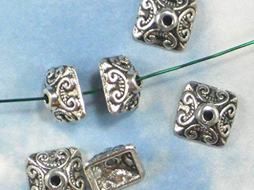 12 Bead Caps End Cap Scroll Square Pyramid Silver Tone Celtic Style #ID-330