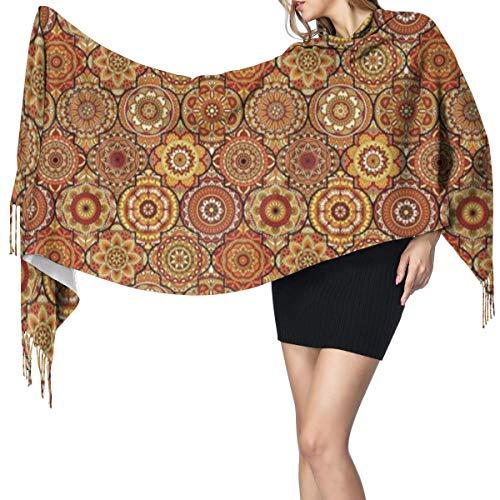 Womens Large Soft Cashmere-like Pashmina Shawls Wraps Scarf Vintage Hand Drawn Style Ottoman Trellis Floral Motifs Winter Warm Tassel Shawl Scarves