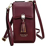 Pearl Angeli RFID Blocking Womens Small Cross Body Phone Bag Cellphone Wallet Tassel Ladies Shoulder Purse with Mobile Phone Holder (Burgundy Wine Red)