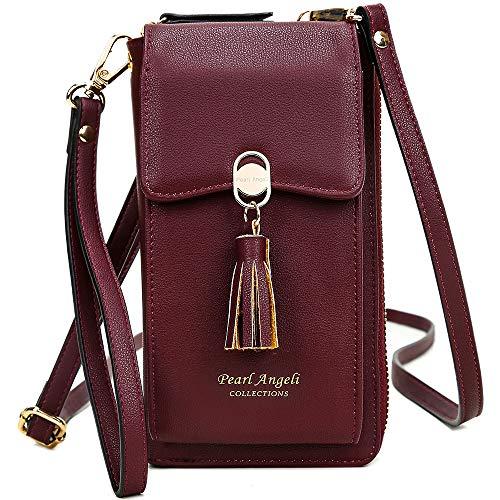 Pearl Angeli RFID Schutz Handy Brieftasche Frauen Kreditkarte Kunstleder Geldbörse mit Tessel Crossbody Handytasche für Junge Damen (Weinrot)