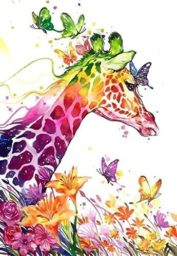 JZXJZX Kleuren Giraffe DIY wandbehang vierkant complete diamant borduurwerk mozaïek handwerk decoratie huisgeschenk