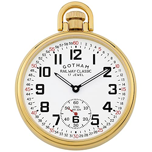 Gotham Men's Gold-Plated Stainless Steel Mechanical Hand Wind Railroad Style Pocket Watch # GWC14108G