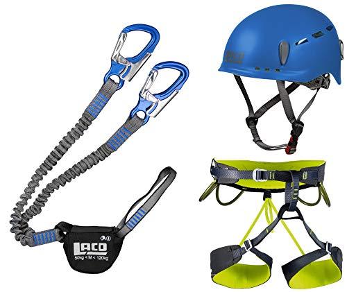 LACD Klettersteigset Pro Blue + Klettergurt Camp Größe XL + Helm Protector 2.0 Blue