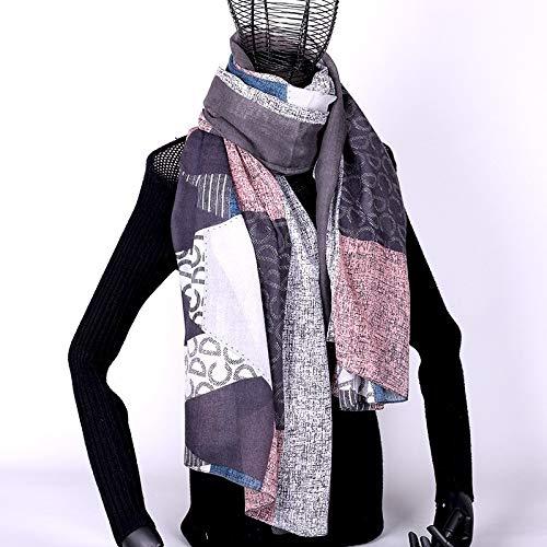 NUANYAYA Baumwolle Frauen Winter Schal Schals Warme Poncho Mode Tartan Poncho Sjaal Übergröße Lange Schals Chale Schal Big Hijab