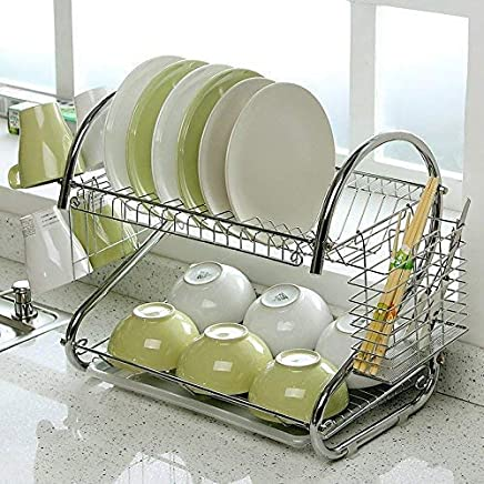 Kurtzy Dish Drainer Rack Crockery Cutlery Plate Holder Glass Utensils Storage Organizer LxBxH 41x25x37CM