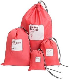 COMLIFE 4 pcs Bolsas de Cuerdas de Viajes Impermeable con Cordón Organizador de Viajes de Nylon Bolsas de Almacenamiento para Viajar Playa Colegio Lavandería Juguetes Natación Gymsack Senderismo, etc (Rojo)