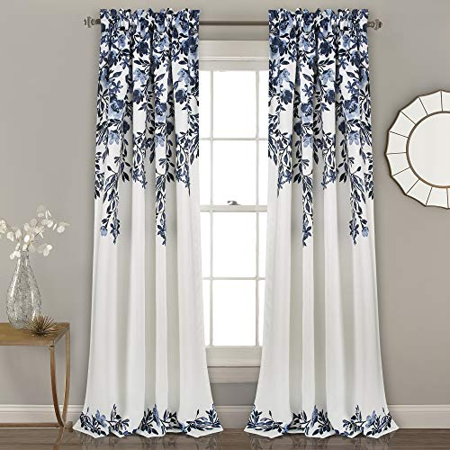 "Lush Decor Tanisha Curtains | Room Darkening Floral Vine Print Design Window Panel Set (Pair), 84"" x 52"" -Navy and White, 84"" x 52"", Navy & White"