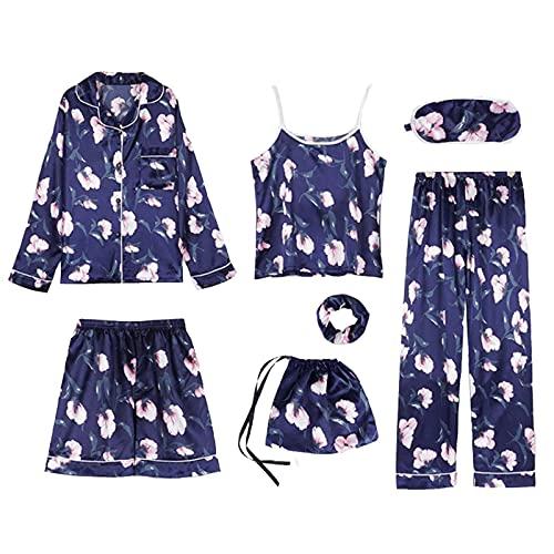 Sheey Juego de 7 Piezas Conjunto de Pijama Fino para Mujer, Ropa de Dormir Cómoda y Suave para Primavera Verano Otoño Invierno Fiesta, Inicio
