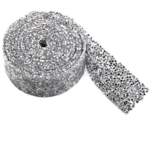 Resin Rhinestone Trim Hotfix Strass Crystal Mesh Banding Bridal Beaded Applique in Roll 2yardsx3cm for Dresses Shoes(Crystal+Silver Plating)