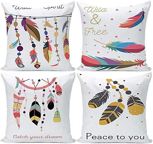 Juego de 4 fundas de cojín de 45,7 x 45,7 cm, diseño de plumas de colores, fundas de almohada decorativas para sofá