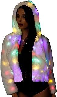 General Women Faux Fur Winter Coat Jakcet Light Up Fluffy Sparking LED Costume Outwear