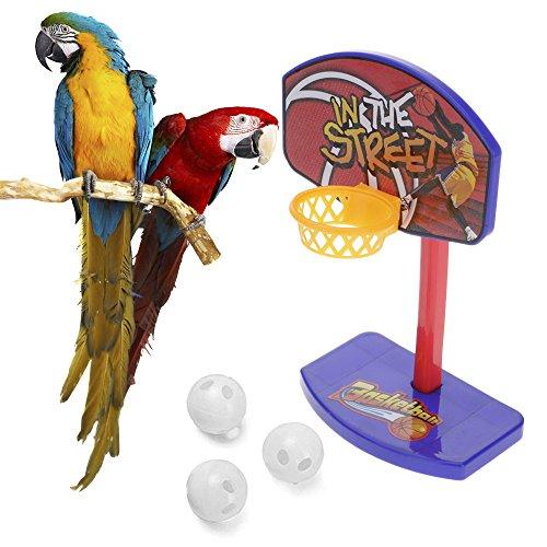 GGG Kauspielzeug-Set für Haustiere, Vögel, Sittiche und Papageien, Spielzeug, Mini-Basketballkorb, Trick-Requisiten, 3 Bälle