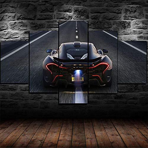 AWER 5 Piezas Imprimir Lienzo de Pintura P1 Super Sport Car Cuadro decoración Estilo Piasaje Pintura para Arte de Listo para Colgar en un Marco