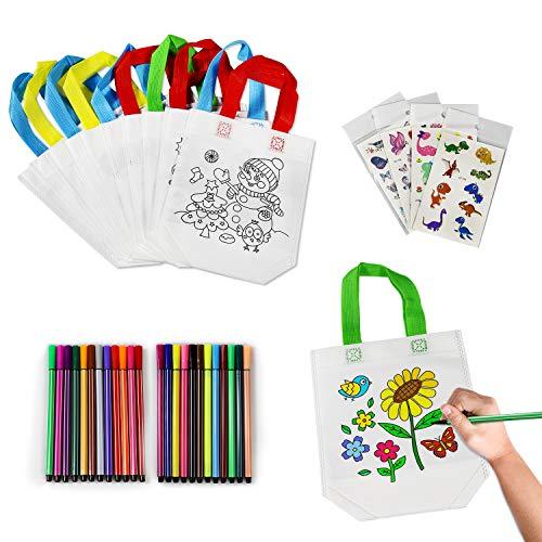 Yojoloin 12 Pcs Sacs à Main à Colorier & 24 Couleurs Stylo ,DIY Sac de Peinture des Enfants Doodle Sac Graffiti de Animal Idéal ,pour des Cadeaux de fête d'anniversaire, des écoles, des Arts, etc.