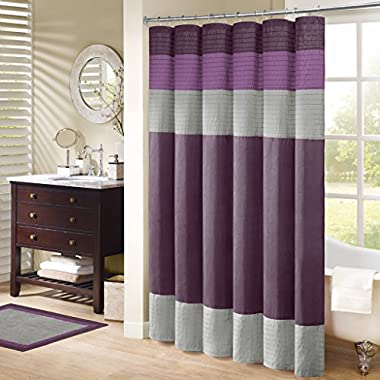 Madison Park Amherst Fabric Purple Shower Curtain, Pieced Transitional Simple Shower Curtains for Bathroom, 72 X 72, Violet