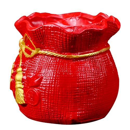 Amosfun Macetas para plantas suculentas con bolsa china de la suerte de cerámica, vintage, contenedores para macetas de decoración de plantas en miniatura, flores suculentas (rojo)