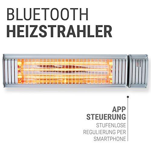 VASNER Infrarot Heizstrahler Appino 20 silber, 2000 Watt, Terrassenstrahler + Fernbedienung + Bluetooth App Steuerung, Infrarotstrahler Terrasse außen, elektrisch - 2