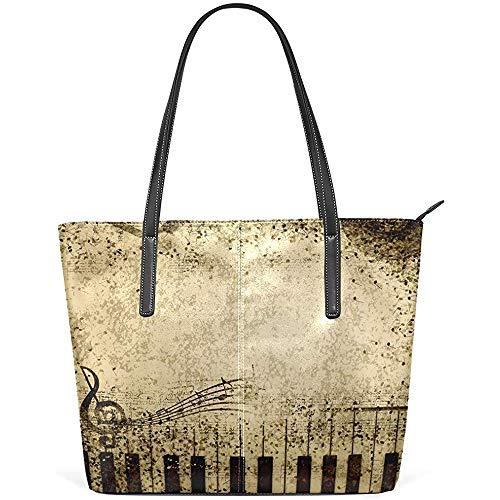 G.H.Y Vintage Music Note Piano PU Leder Schultertasche Handtasche für Frauen Mädchen