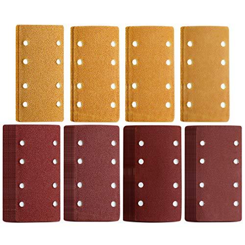 48 Stück Schleifpapier Bosch, Schleifblatt Set mit Klettverschluss, 93 x 185 mm, gelocht, 8 Löcher, Körnung 40/60/80/120, passend für rechteckige Schwingschleifer, Multischleifer