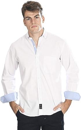 Camisa Manga Larga Blanca con Rayas Finas de Color Azul ...