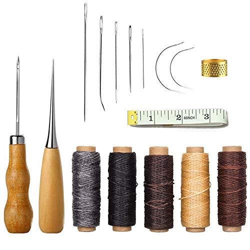 16 Piezas Herramienta de Artesanía de Cuero Agujas de Coser a Mano de Tapicería de Cuero de lona Accesorios de Costura de Bricolaje