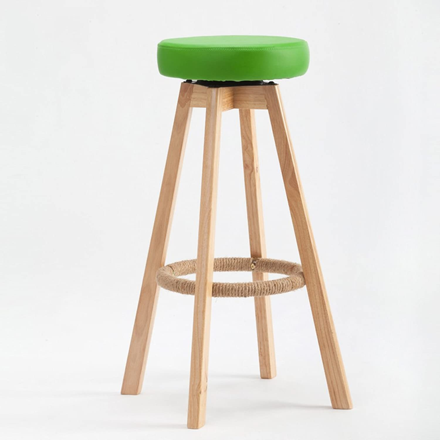 Bar Stool Wooden Bar Stool Leather Kitchen Breakfast Chair redating High Stool, 1Pcs, 48  74cm (color   Green)