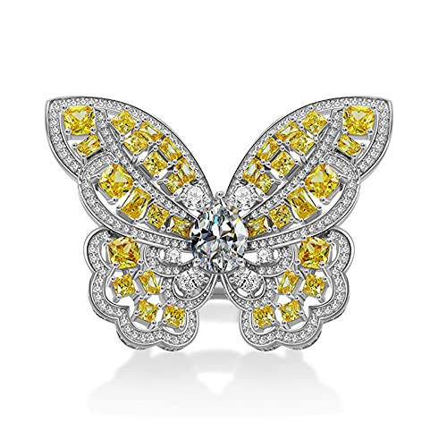 GYAM Anillo de plata de ley S925 con forma de mariposa llena de diamantes, misterioso noble sueño anillo de mariposa para mujer, 5