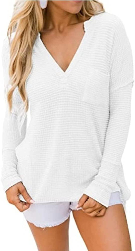 HSHUIJP Sexy Tops for Women Women Sexy Deep V Neck Casual Baggy Knitted Tops Ladies Long Sleeve Pocket Solid Loose Holiday Fashion Elegant T Shirts Women, s Vests (Color : White, Size : L)