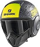 Casco de Moto Shark Street Drak Tribute RM Mate AYK, Gris/Negro/neón, M