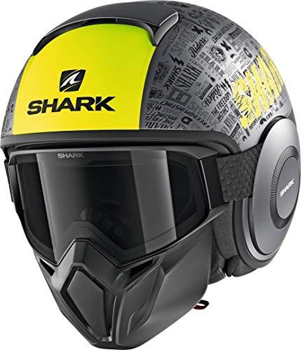 Casco de Moto Shark Street Drak Tribute RM Mate AYK, Gris/Negro/neón, L