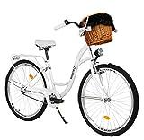 Milord. 26 Zoll 3-Gang weiß Komfort Fahrrad mit Korb und Rückenträger, Hollandrad, Damenfahrrad, Citybike, Cityrad, Retro, Vintage