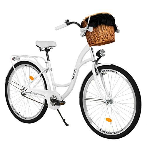Milord. Bicicleta de Confort Blanco de 3 Velocidad y 28 Pulgadas con Cesta y Soporte Trasero, Bicicleta Holandesa, Bicicleta para Mujer, Bicicleta Urbana, Retro, Vintage