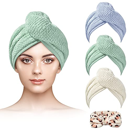 NUFR 3+1 Pack Hair Towel,Microfiber Hair Towel Fast Drying for Women,Suitable for Bathing and Washing Face (Light Green/Beige/Sky Blue)