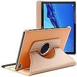 ebestStar - kompatibel mit Huawei MediaPad M5 Lite 10.1 Hülle Tablet 10.1 Rotierend Schutzhülle Etui, Schutz Hülle Ständer, Rotating Hülle Cover Stand, Gold [M5 Lite 10.1: 243.4x162.2x7.7mm, 10.1'']
