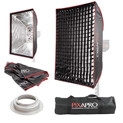 PIXAPRO Rechteckiger Studio-Stroboskop-Regenschirm, leicht zu öffnende Softbox, Broncolor (B), Wabengitter, weich, diffuses Licht, tragbar, 60 x 90 cm, Fassung: Broncolor (B))