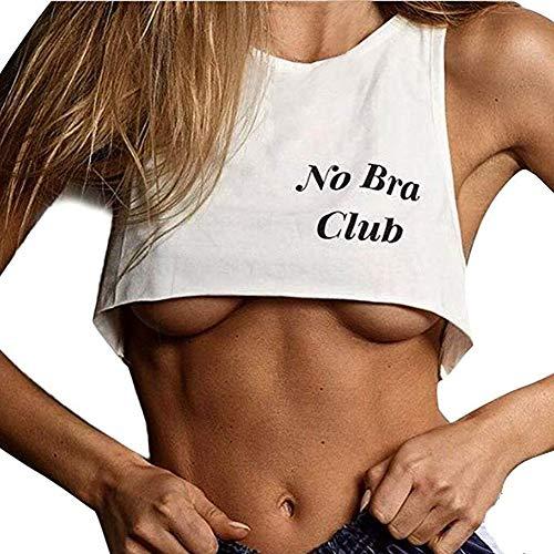Allring Dames Tanktops Brief Print vest kort BH blouse No Bra Club ondergoed Camisole T-shirt vrouwen sporttop mouwen Cami Bustier Sport BH Gym Yoga Tops onderhemd