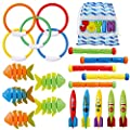 JOYIN 20 Pcs Diving Pool Toys Set with Bonus Storage Bag Includes 5 Diving Sticks, 5 Diving Rings, 5 Toypedo Bandits, 5 Diving Fish Toys, Underwater Sinking Swimming Pool Toy for Kids