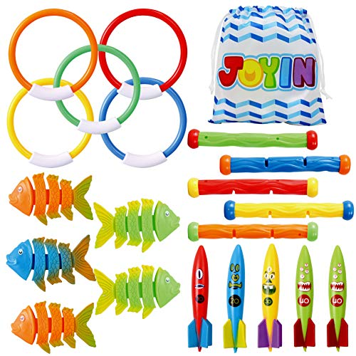 JOYIN 20 Pcs Diving Pool Toys Set with Bonus Storage Bag Includes 5 Diving Sticks, 5 Diving Rings, 5 Toypedo Bandits, 5 Diving Fish Toys, Underwater Sinking Swimming Pool Toy for Kids Nevada