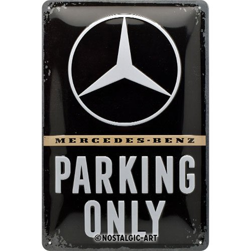 Nostalgic-Art 22276 Mercedes-Benz-Parking Only | Retro Vintage-Schild | Wand-Dekoration | Metall Blechschild 20x30 cm, Bunt, 20 x 30 x 0.2 cm