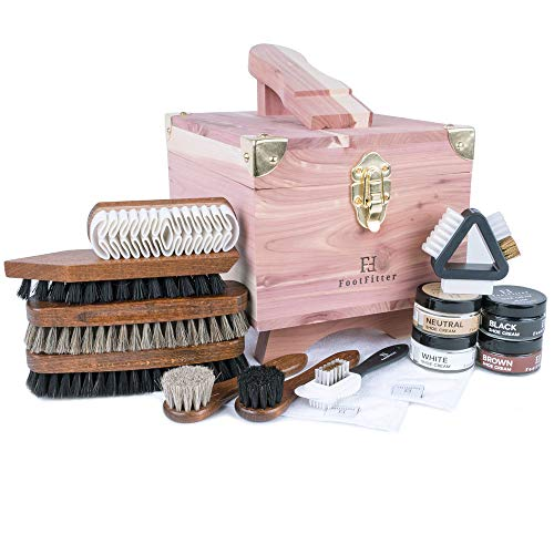 FootFitter Grand Cedar Shoe Shine Valet Set with Shoe Cream- All In One Shoe Care Kit